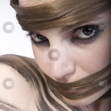 Beauty Hairwear stock photo, Studioportrait of a long haired girl by Frenk and Danielle Kaufmann