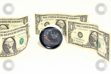 Fuel Cost stock photo, Concept on the cost of gas 4 dollars per gallon by Jack Schiffer