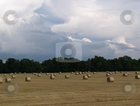 Weather's comming stock photo, Incoming storm coming in on a newly baled field. by Michelle Bergkamp