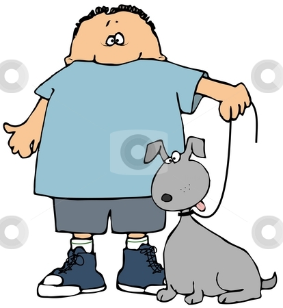 Boy And His Dog stock photo, This illustration depicts a small boy holding his dog on a leash. by Dennis Cox