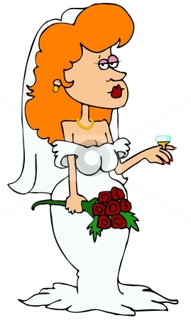 Wedding Ring stock photo, This illustration depicts a sexy bride showing off her large wedding ring. by Dennis Cox