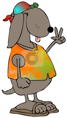Hippie Dog stock photo, This illustration depicts a dog wearing a scarf, vest and peace sign. by Dennis Cox