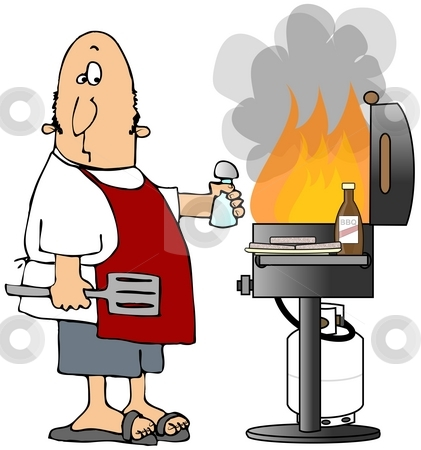 Flaming BBQ stock photo, This illustration depicts a man standing by a propane BBQ with giant flames. by Dennis Cox