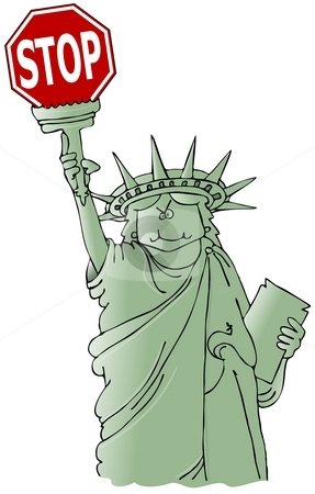 Statue of Liberty holding a stop sign stock photo, This illustration depicts the Statue of Liberty holding a stop sign. by Dennis Cox