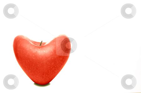 I Love Apples stock photo, A ready to eat heart shaped apple. by Robert Byron