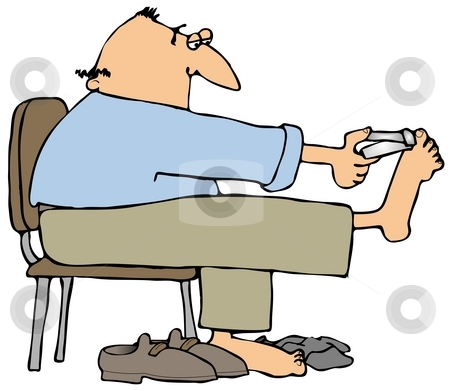 Clipping Toenails stock photo, This illustration depicts a man clipping his toenails. by Dennis Cox