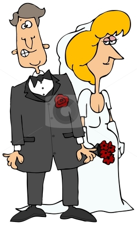 Nervous Groom  stock photo, This illustration depicts an apprehensive groom standing by his bride. by Dennis Cox