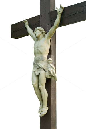 Isolated Jesus stock photo, A statue of jesus on a cross, isolated against a white background by Richard Nelson