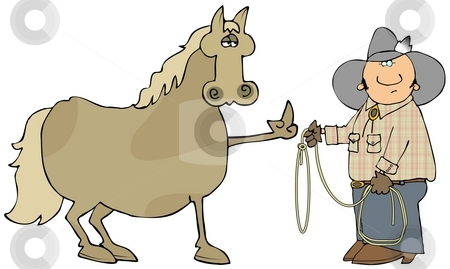 Mad Horse stock photo, This illustration depicts a horse flipping the bird at a cowboy with a lasso. by Dennis Cox