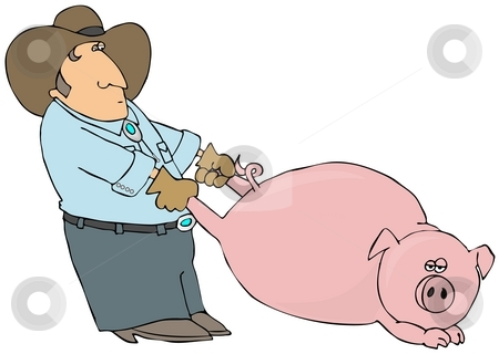 Pig Pulling stock photo, This illustration depicts a farmer pulling a large hog by its rear legs. by Dennis Cox
