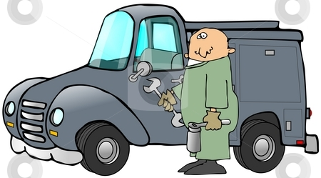 Mechanic And His Truck stock photo, This illustration depicts a man wearing coveralls standing by a utility truck. by Dennis Cox