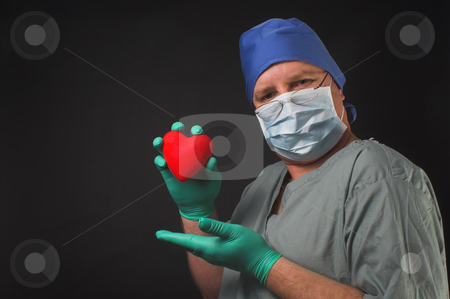 Cardiologist stock photo, A cardiologist holding a patients heart in his hand. by Robert Byron