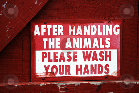 Animal Safety Sign stock photo, A farm sign telling people who have handled the animals to wash their hands by Philippa Willitts