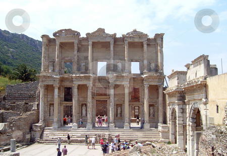 Celsus Library Turkery stock photo, Tourists looking around Celcus Library, Ephesus, Turkey. by Martin Crowdy