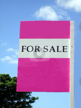 Pink for sale sign stock photo, Pink for sale sign with space for company name. by Martin Crowdy