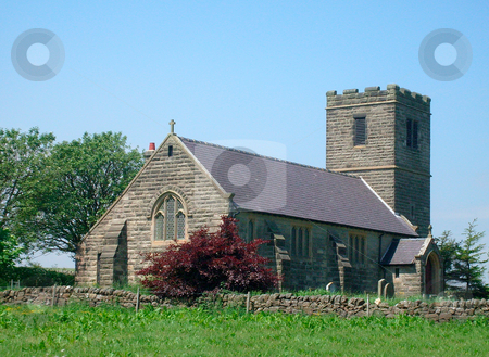Church in countryside stock photo, Church in countryside scene, Yorkshire Dales, England. by Martin Crowdy