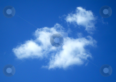 White clouds in sky stock photo, White clouds in blue sky scene. by Martin Crowdy