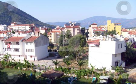 Buildings in Icmeler Turkey stock photo, Hotel buildings in resort of Icmeler Turkey by Martin Crowdy