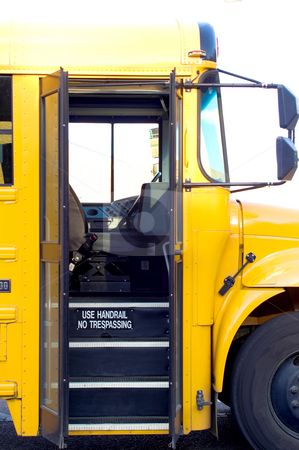 School Bus Door stock photo, An open door on a public school bus. by Robert Byron
