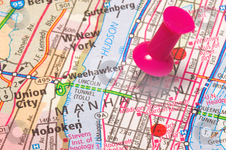 A Push Pin in New York stock photo, A push pin in a map of New York City by Robert Byron
