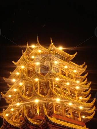 Asian Pagoda stock photo, Illuminated Asian Pagoda by Ritu Jethani
