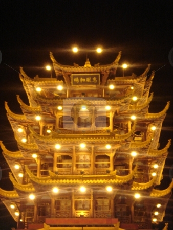 Asian Pagoda stock photo, Illuminated Asian Pagoda by Ritu Jethani