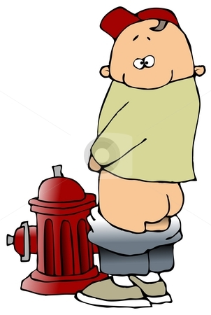 Boy Peeing On A Fire Hydrant stock photo, This illustration depicts a small boy with his pants around his knees peeing on a fire hydrant. by Dennis Cox