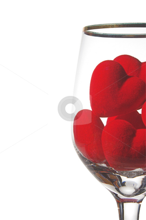 Hearts in a Wine Glass stock photo, Hearts in a wine glass. Concept of love. by Robert Byron