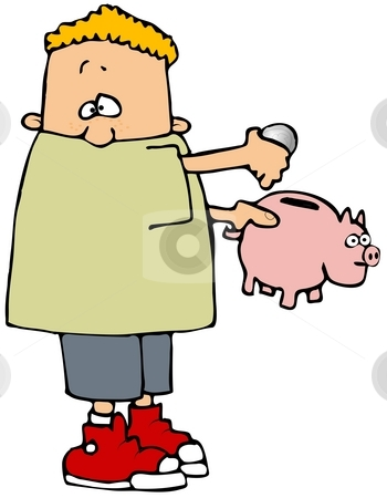 Saving Money stock photo, This illustration depicts a boy putting a coin into a piggy bank. by Dennis Cox