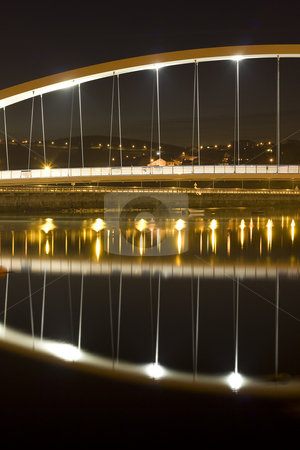 Bridge stock photo, Night image of a bridge in plentzia, a village in the north of spain by Ivan Montero