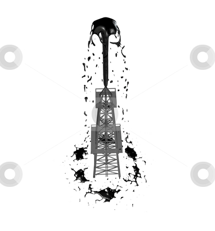Oil Derrick 1  stock photo, Oil Derrick 1 on a white background by John Teeter