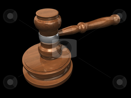 3D Gavel 3 stock photo, 3D Gavel 3 on a black background by John Teeter