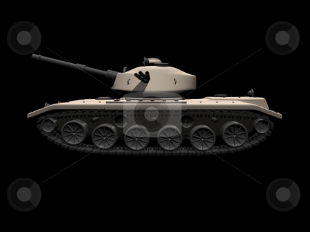 3D tank side view on black stock photo, 3D tank side view on a black background by John Teeter