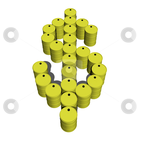 Oil Drums making dollar sign 2 stock photo, Oil drums making dollar sign 2 on white background 3D by John Teeter
