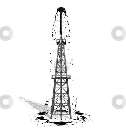 Oil Derrick 2 with shadow stock photo, Oil Derrick 2 with shadow on a white Background by John Teeter