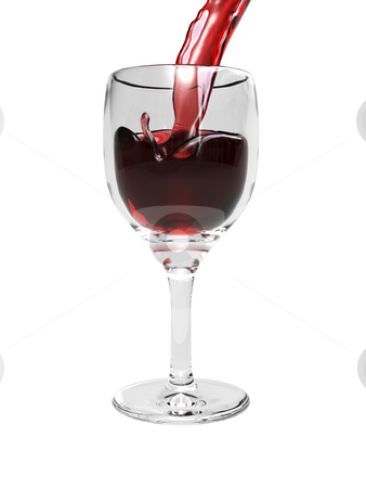 Wine pouring into glass stock photo, Wine pouring into glass on white background by John Teeter