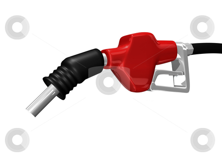 Gas nozzle pointing down stock photo, Gas nozzle pointing down on white background 3D by John Teeter