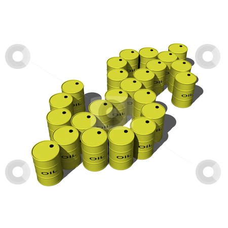 Oil drums making dollar sign stock photo, Oil drums making dollar signs on white background by John Teeter