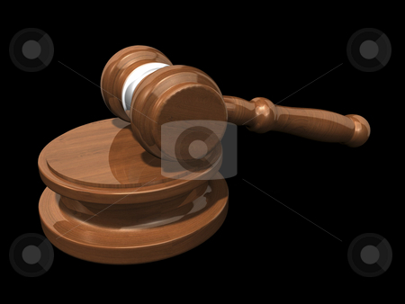 3D Gavel on black background stock photo, 3D gavel on a black background by John Teeter