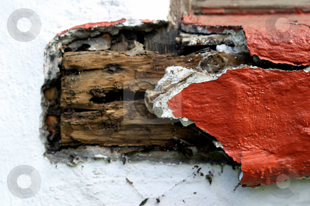 Old Wood stock photo, Old wood, with the red plaster falling off by Henrik Lehnerer