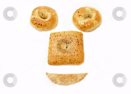 Bagels stock photo, Two kinds of bagels and a pita bread by Jack Schiffer