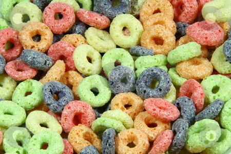 Fruit cereal stock photo, Colorful round fruit cereals ideal as background by Jonas Marcos San Luis
