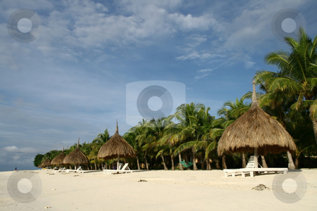 Beach resort 2 stock photo, Rows of nipa hut shade with coconut trees as background by Jonas Marcos San Luis