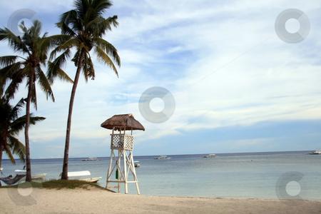Lifeguard tower stock photo, Tall lifeguard watch tower at the beach by Jonas Marcos San Luis