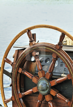 Rudder stock photo, Wooden rudder and navigation instruments on a sailboat by Massimiliano Leban