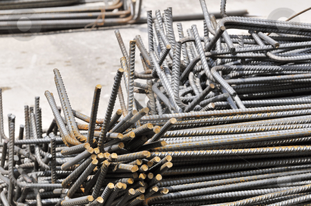 Steel reinforcement stock photo, Steel rods used for armored concrete in a contruction site by Massimiliano Leban