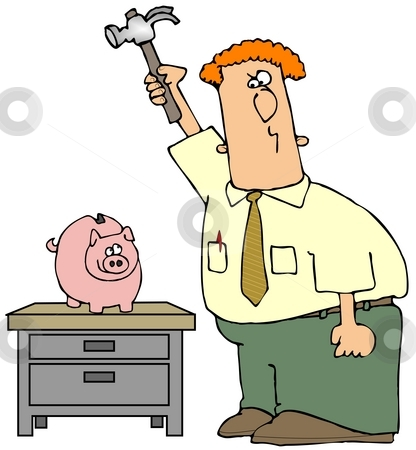 Breaking The Piggy Bank stock photo, This illustration depicts a man about to break a piggy bank with a hammer. by Dennis Cox