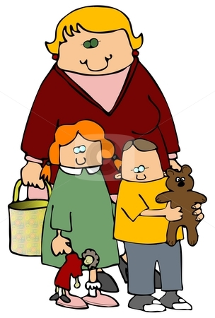Mom And Kids stock photo, This illustration depicts a mother standing behind her son and daughter. by Dennis Cox
