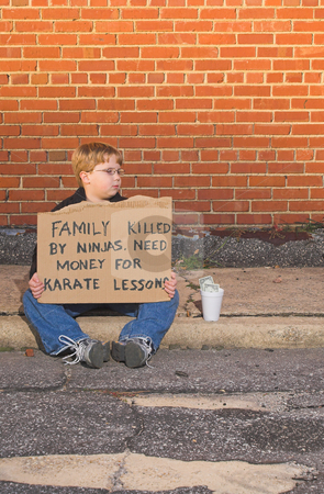 Karate Lessons stock photo, A young boy raising money for karate lessons. by Robert Byron