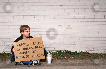 Karate Lessons stock photo, A young boy collecting funds for karate lessons. by Robert Byron